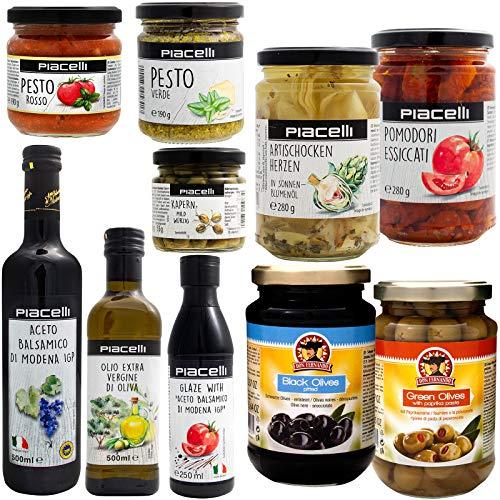 Italienisches Antipasti Set groß Spezialitäten Feinkost Tomaten Oliven Kapern Artischocken Pesto Glasur Öl Balsamico