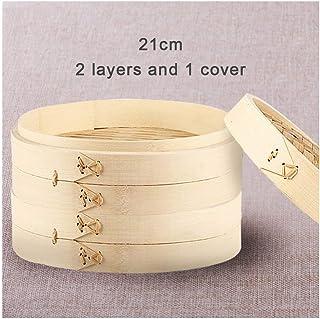RUIMI Vapor De Bambú Tamaño Jaula Vaporizado Bollo Vaporera Olla Arrocera Olla Multicapa2 Layers and 1 Cover 21 cm