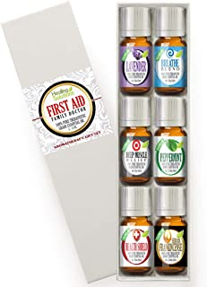 First Aid Essential Oil Set 100% Pure, Best Therapeutic Grade - 6/10mL Aromatherapy Kit(Family Doctor) Includes: Breathe, Frankincense, Lavender, Muscle Relief, Peppermint, Health Shield