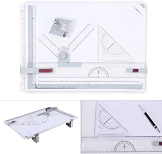 Drawing Board Table, Lightweight Ergonomic Designed A3 Drafting Drawing Board Office Tool Table Professional Artist with Clear Rule Parallel Motion and Adjustable Measuring System Angle