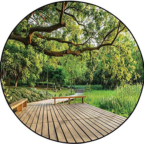 Countryside Round Area Rug for Nursery Décor Carpet Wood Walkway Nature Diameter 78.7 in(200cm)