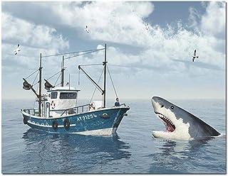 Pintura de diamantes 5D Taladro completo Tiburones de mar Lancha motora Diy Punto de cruz Mosaico Costura Decoración para el hogar,60X80cm