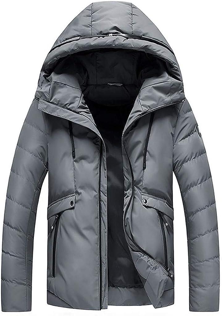 HDGTSA Men's Winter Hooded Coat Softshell Windproof Jacket Warm Fleece Outwear