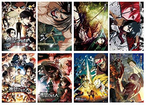Set di 8 poster di anime per decorazione della stanza (Attack-on-Titan), 41,9 x 29,2 cm, su carta goffrata