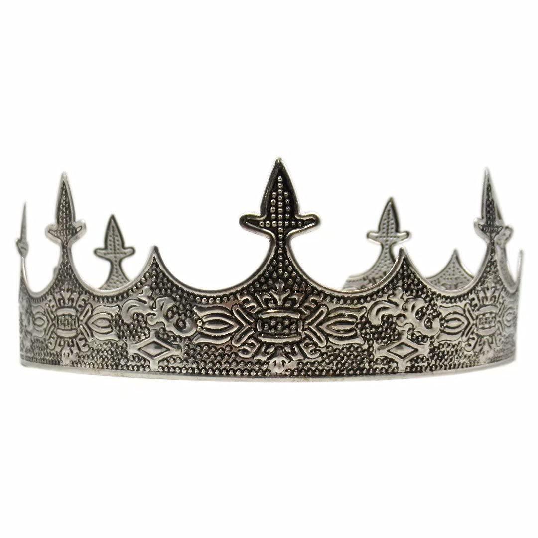 Antique Silver King Crown for Men Max 74% OFF Brand Cheap Sale Venue Prom - D Party Men's