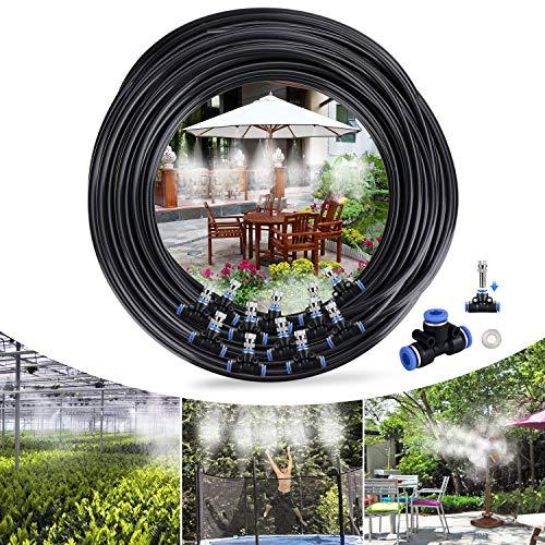 Tencoz Sistema de Enfriamiento por Nebulización, 15M 18 Boquilla Sistema de nebulización para Exteriores, Kit Nebulizadores para Terrazas para Trampolín, Parque Acuático, Sombrilla, Glorieta