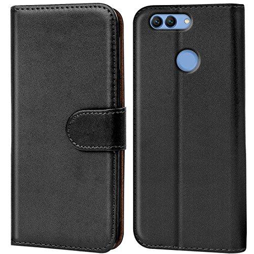 Verco Nova Plus Hülle, Handyhülle für Huawei Nova Plus Tasche PU Leder Flip Hülle Brieftasche - Schwarz