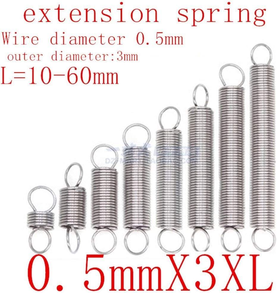 L/änge 10-50mm 10pcs // Lot 0.5mm 0.5mm x 3mm x L Edelstahl Zugfeder Length : 15mm Breites Anwendungsspektrum Aojing LHjin-Spannh/ülsen Au/ßendurchmesser 3 mm Zugfeder