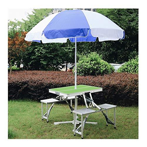 Mesa plegable portátil plegable con capacidad de carga de sombrilla de aleación de aluminio, 85,5 x 67 x 67 cm, apta para interior y exterior camping, verde, 2.4m umbrella
