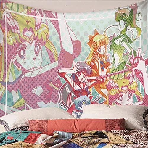 Weibing Tapiz de impresión en Color 3D Estilo Moderno Dibujos Animados Anime Sailor Moon patrón Colgante de Pared decoración para Dormitorio Sala de Estar 180(An) x200(H) cm