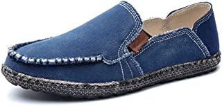 Oxford Shoes Casual Driving Loafer For Men Boat Moccasins Slip On Style Washed Canvas Contracted Design Pure Color Round Toe Leather Shoes (Color : Blue, Size : 47 EU)