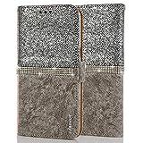 LCHULLE Kompatibel mit Samsung Galaxy S8 Schutzhülle Prima PU Leder Hülle Glitzer Kristall Handyhülle Magnetisch Silikonhülle TPU Rückschale Hülle Brieftasche Hülle Silber