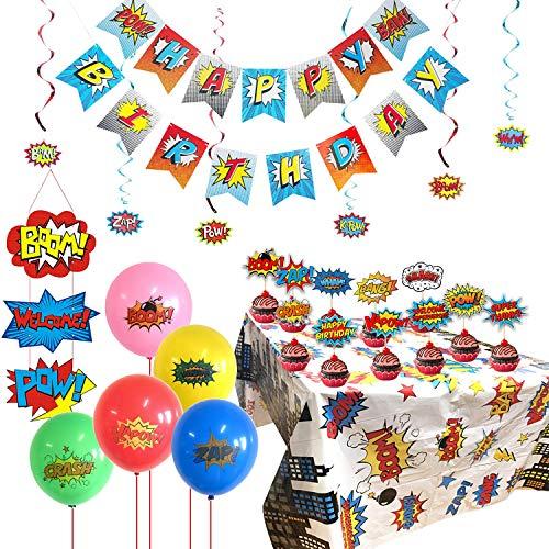 KRUCE Kit Completo de Suministros para Fiestas de superhéroes, Mantel de superhéroes, Adornos de Pastel, Globos y Letrero de Puerta de superhéroe para Decoraciones de Suministros para Fiestas