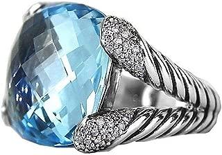 DAVID YURMAN STERLING SILVER 17mm LARGE TOPAZ DIAMOND COCKTAIL RING NEW BOX #8R