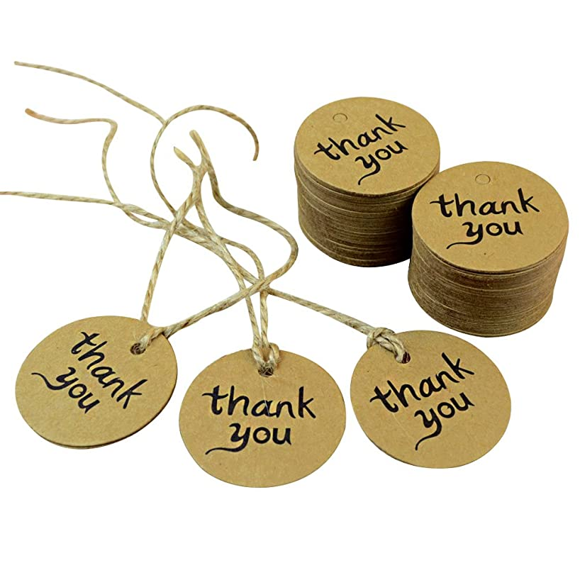 Dxhycc 100PCS Thank You Wedding Brown Kraft Paper Tag gifts papers Favor Gift Tags With Jute Twines