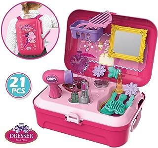 Smartcraft Dresser Beauty Back Pack Play Set , Pretend Play Dress Up Suitcase Makeup Toys Kit -Set of 21 Pieces (Pink)
