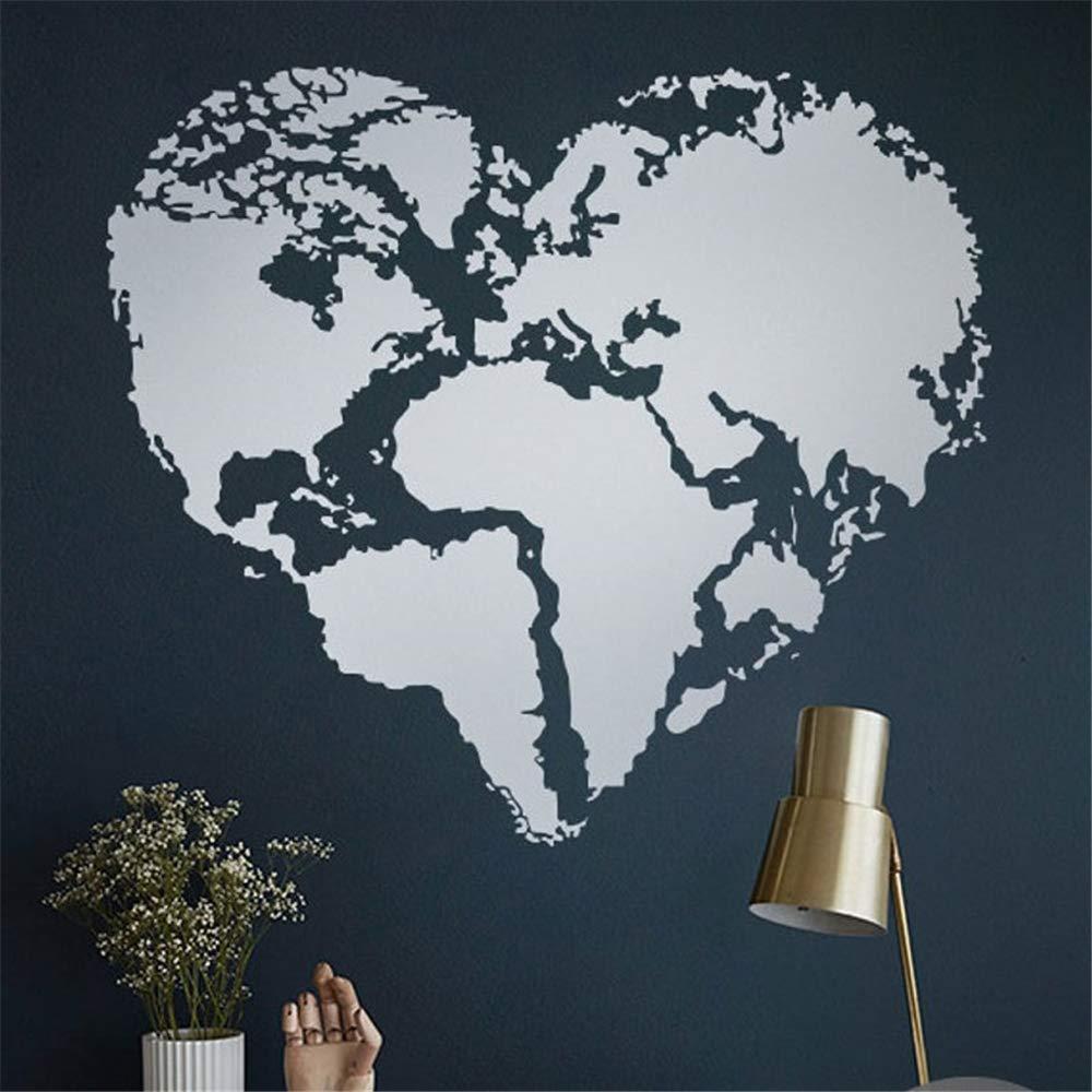 kyprx Forma de corazón Mapa del Mundo Vinilo Etiqueta de La Pared ...