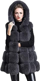 CHARTOU Women's Stylish Sleeveless Hooded Fur Gilet Fox Fur Vests Waistcoats Jacket (Black, X-Large)