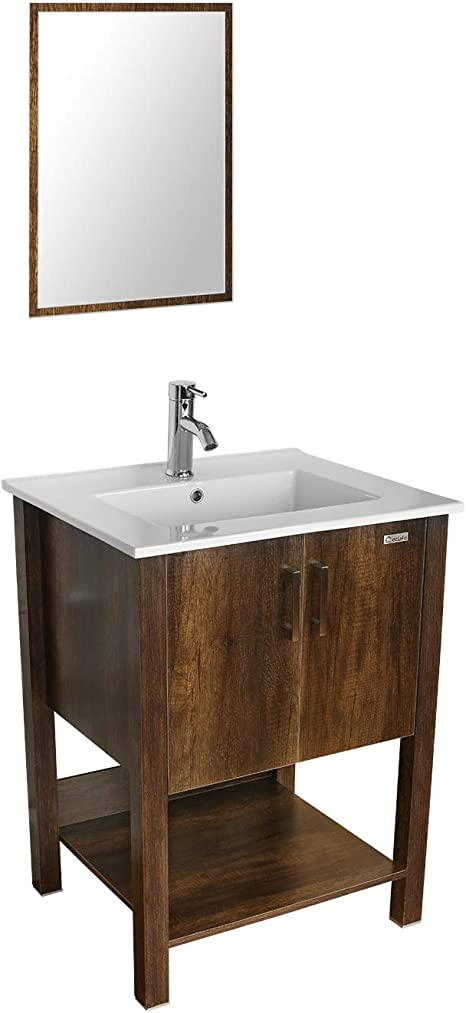 Amazon Com Eclife 24 Bathroom Vanity Sink Combo W Overflow White Drop In Ceramic Vessel Sink Top Brown Mdf Modern Bathroom Cabinet Chrome Solid Brass Faucet Pop Up Drain W Mirror A08b12c