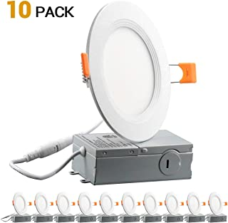 9W 4inch Ultra-Thin Downlight 650LM 3000K Daylight Dimmable Recessed Ceiling Light Remote Driver cETLus listed - 10 PACK
