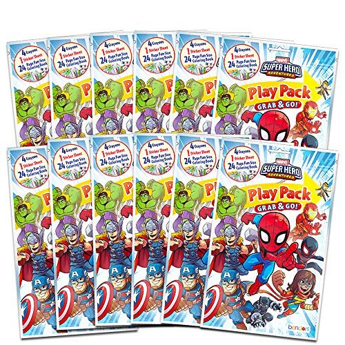 Marvel Super Hero Adventures Party Favors Pack ~ Bundle of 12 Superhero Adventures Play Packs with Stickers, Coloring Books, and Crayons (Super Hero Adventures Party Supplies)