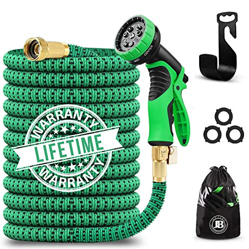 J&B XpandaHose 75ft Expandable Garden Hose with Holder - Heavy Duty Superior Strength 3750D - 4 -Layer Latex Core - Extra Strong Brass Connectors and 10 Spray Nozzle w/Storage Bag (Green 75)