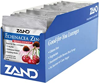 Zand HerbaLozenge Cherry Echinacea Zinc | Throat Lozenges | No Corn Syrup, No Cane Sugar, No Colors | 15 Lozenge, 12 Bags