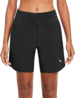 BALEAF Women's 7 Inches Long Running Shorts with Liner Lounge Sport Gym Shorts Back Zipper Pocket