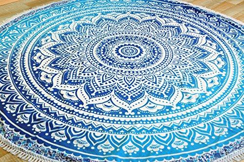 Guru-Shop Rundes Indisches Mandala Tuch, Tagesdecke, Picknickdecke, Stranddecke, Runde Tischdecke - Blau, Baumwolle, Bettüberwurf, Sofa Überwurf