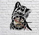 QERTYU Yorkie Retrato Artista Perro Tienda de Mascotas Arte de Pared Reloj de Pared Cachorro Ricky Yorkie Vinyl Record Reloj Yorkshire Terrier Razas de Perros Regalo