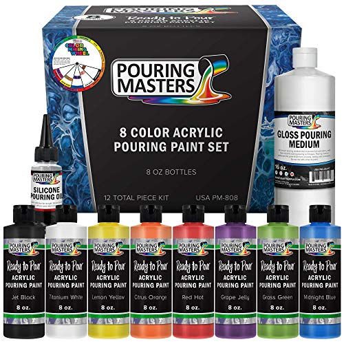 Pouring Masters 8-Color Ready To Pour Acrylic Pouring Paint Set - Premium Pre-Mixed High Flow 8-Ounce Bottles - For Canvas, Wood, Paper, Crafts, Tile, Rocks And More