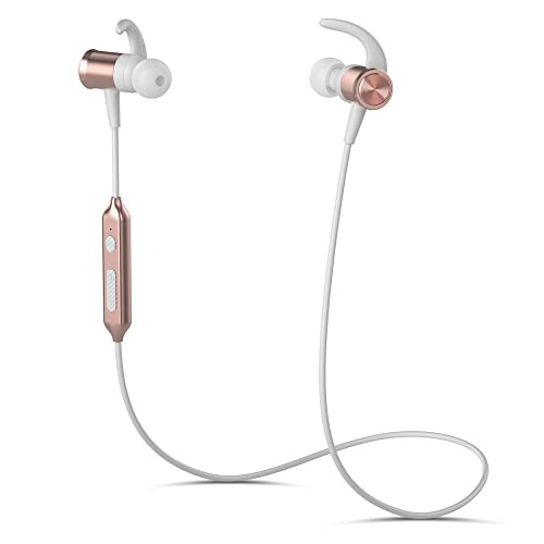 Bluetooth Sports Headphones Yuwiss X22 Running Wireless Headphones lightweight Earphones Noise Canceling in Ear Magnetic Earbuds with Mic for Bluetooth Devices (Rose Gold)