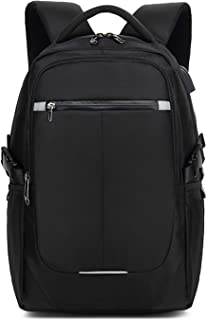 15.6 Pulgadas Laptop Mochila Impermeable Bolso de Escuela con USB Agujero del Auricular Tira Reflectante Hombres/Mujeres Rucksack Outdoor Viajes Camping Backpack Poliéster Negro