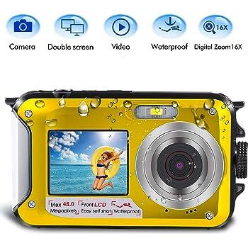 Underwater Camera for Snorkeling 2.7K 48MP Digital Camera HD Rechargeable Underwater Camera with Dual Screen Great for Diving Swimming Camping Yellow Waterproof Camera