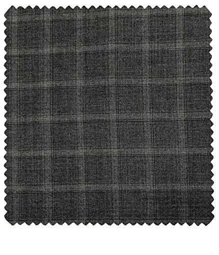 J.hampstead Men's Wool Checks Super 100's 3.75 Meter Unstitched Suiting Fabric (Grey)