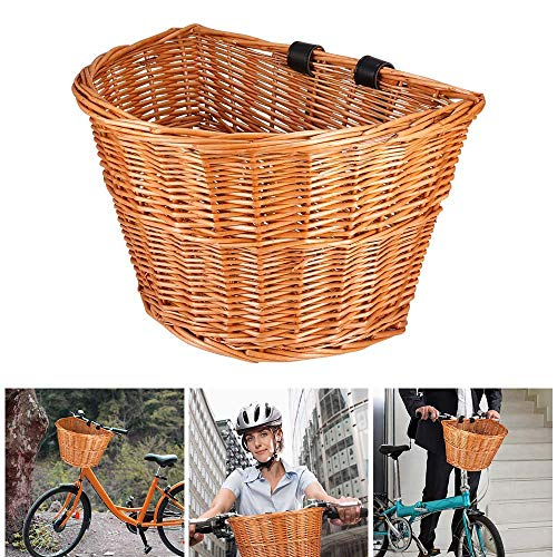 ACECITY Wicker D-Shaped Bike Basket, Portable Hand-Woven Shopping Basket Folk Craftsmanship Bicycle Handlebar Storage Basket with Leather Straps (S for Kids Bike)