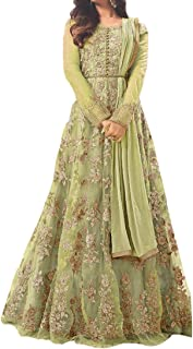 Ethnic Empire Women's Net Semi-stitched Salwar Suit (Ethnic_ER110108_Leoman Green_Free Size)