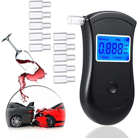 O-Kinee Etilometro Portatile Test dellalcool Portatile Digitale Professionale con Display a LED Incluso 5 Ugelli Nero