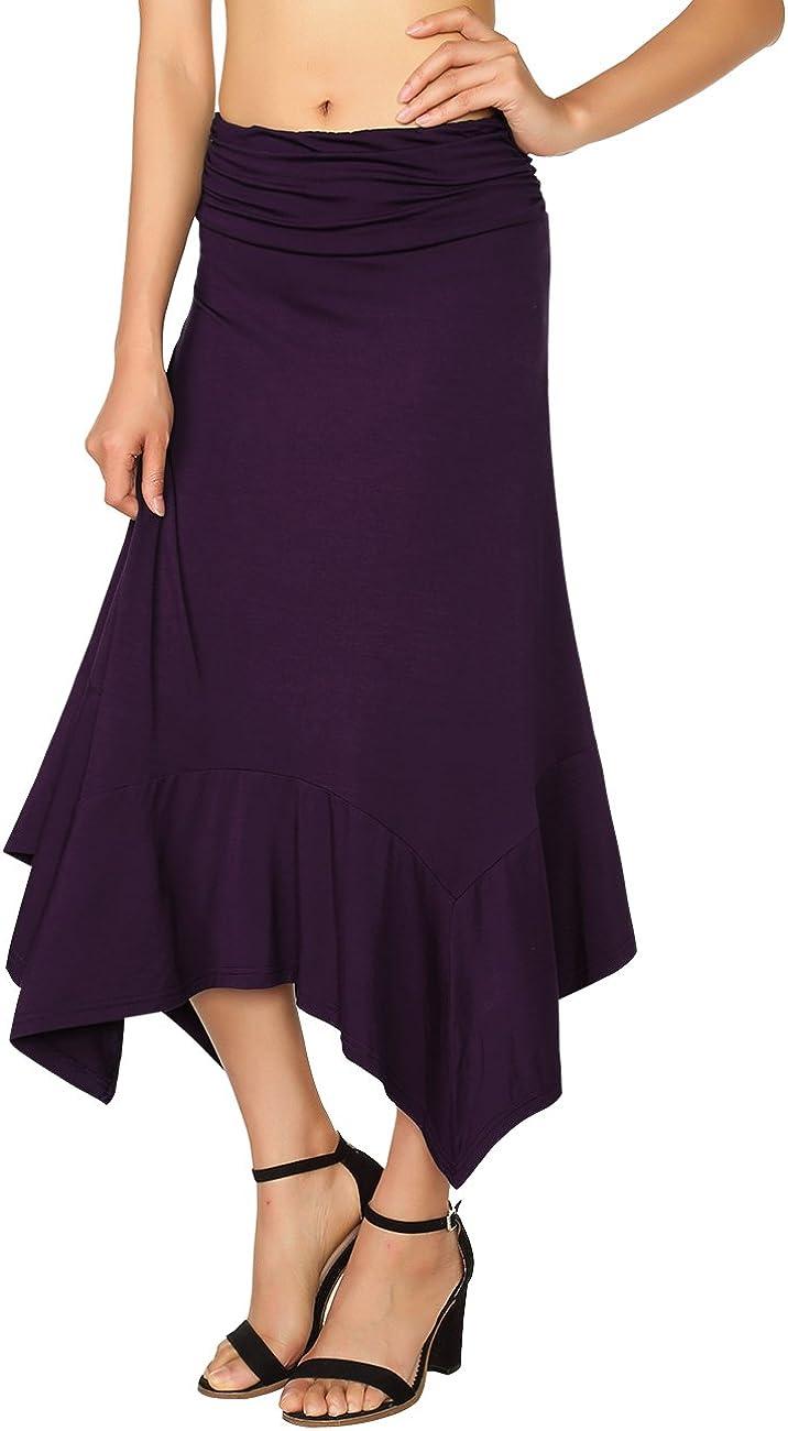 DJT Women's Casual Flowy Irregular Handkerchief Hemline Midi Skirt