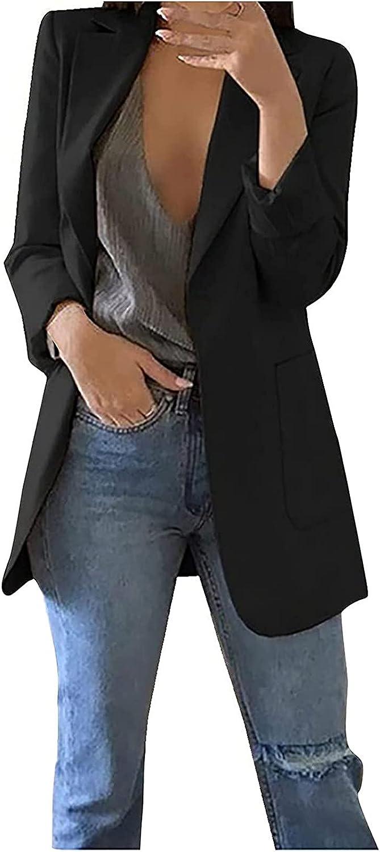 Womens Casual Blazers Open Front Long Sleeve Work Office Jackets Blazer Autumn Winter Warm Cardigans Suit