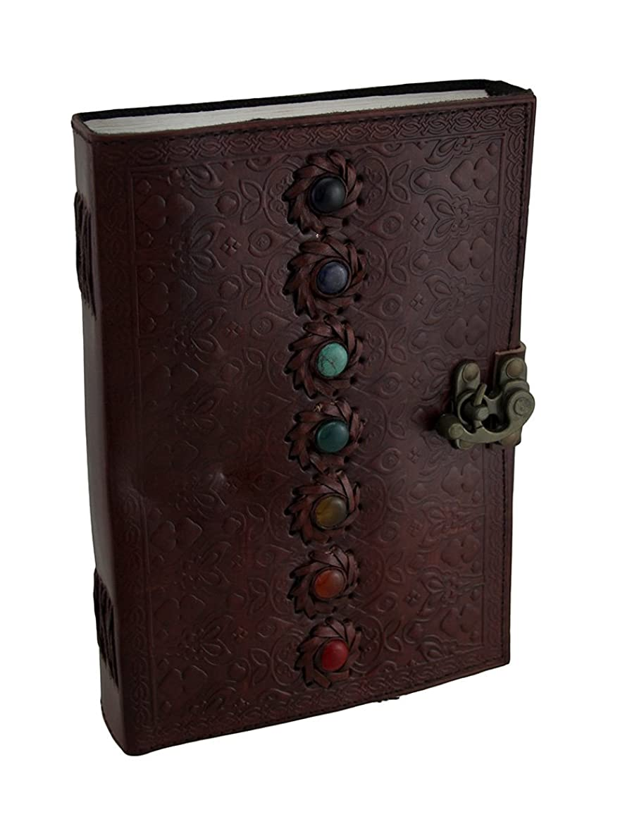 Zeckos Colorful Chakra Stones Embossed Leather Bound Journal 7 X 10 Inch