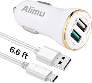 USB Type C Car Charger, Alimu Rapid Fast Car Charger with 6.6ft USB C Cable Works with LG G5,G6,G7,V20,V30,HTC 10 U11,Samsung Galaxy S8 S9 S10 Plus Edge,Note 8,Note 9