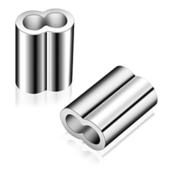 1//4 Inch Aluminum Crimping Loop Sleeve Cable Ferrule,24 Pcs Aluminum Double Barrel Ferrule Sleeve Cable Connectors for 6mm to 6.8mm Wire Rope