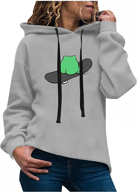 Toeava Women's Fashion Hoodies Sweatshirts Casual Long Sleeve Frog Graphic Sweatshirt Hooded Pullover Jumper Tops