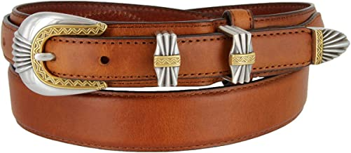 Silver and Gold Buckle Set Oil-Tanned Genuine Leather Western Ranger Belt for Men