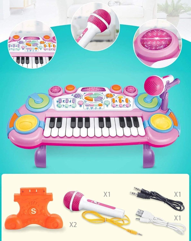 LIULAOHAN Tastiera Elettronica Musicale, Multidivertimentozione Riautoicabile con Microfono, Giocattoli for Bambini della Prima Infanzia (Coloree   viola)