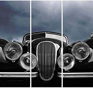 ArtzFolio Vintage Car Front View with Dark Clouds Split Art Painting Panel on Sunboard 29inch x 28inch (73.7cms x 71.1cms)
