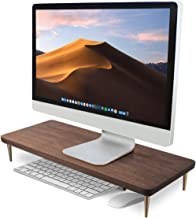 Monitor Stand Walnut Wood Riser for iMac Laptop Computer Monitor – A Sturdy Computer Stand to Elevate Your Screen and Redu...