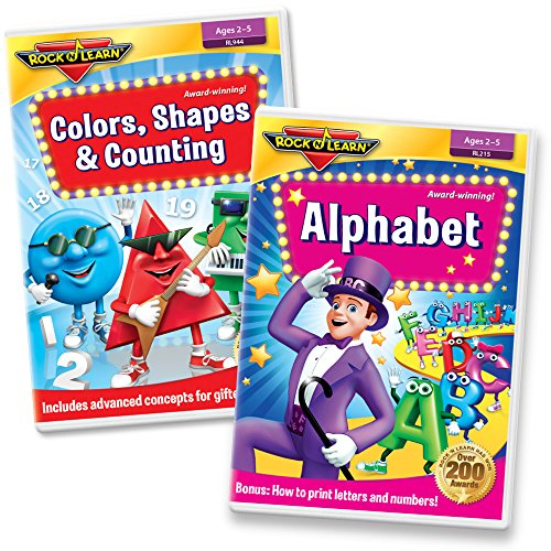 Preschool Skills DVD Set – Alphabet, Printing Letters, Colors, Mixing Colors, Shapes (Basic & Advanced), Counting to 20, and More