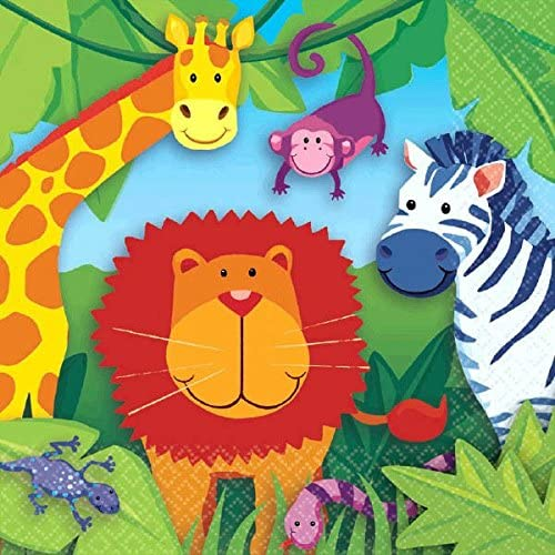 amscan Colorful Jungle Animals Birthday Party Lunch Napkins Part